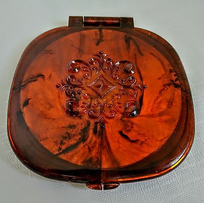 Vintage Folding Mirror Compact Makeup Double Sided Tortoise Bakelite Magnifying