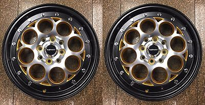 Two 15X3.5 Revolver Gold Drag Wheels Skinnies 4X100/4X114 Skinny Track Rims