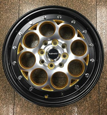 2 15X3.5 Revolver Gold Black Drag Wheels Skinnies 4X100/4X114 Skinny Track Rims