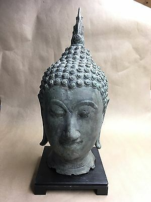 Antique Thai Sukhothai Style  Bronze Buddha Head