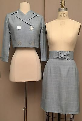 Vintage 1950s Bobbie Brooks Suit Outfit Jacket Skirt Belt Blue Check Wiggle XS