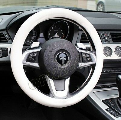 White Leather Texture Soft Silicone Car Steering Wheel Cover Shell Wrap 35-40cm