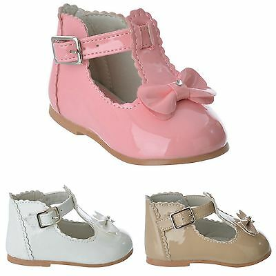 New Baby Girls Toddler Infant T-Bar Bow Buckle First Walking Pram Shoes Size