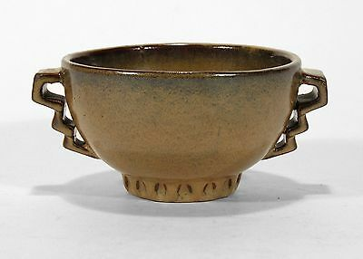 Fulper Pottery arts & crafts 2 handled mottled brown Art Deco form bowl