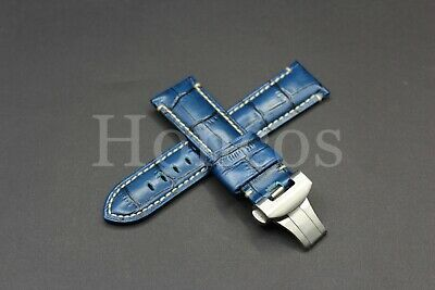 24MM Blue Leather Alligator Watch Band Strap Panerai Deployment Buckle Calsp