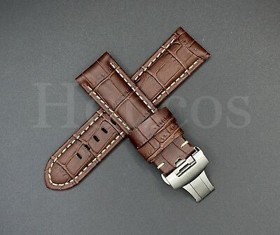 24MM Brown Leather Alligator Watch Band Strap Deployment Buckle Fits For Panerai