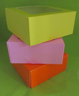 Orange, Lemon & Bright Pink 4 Cup, Cupcake Boxes with card inserts,
