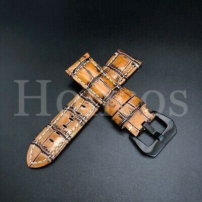 24MM Brown Leather Alligator Watch Band Strap Fits for Panerai Steel Bukcle 44MM