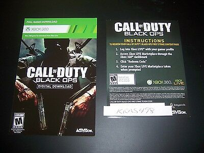Call Of Duty Black Ops Xbox 360 Xbox One Download Code Dlc W