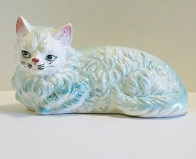 "Large 12"" Vintage Ceramic Porcelain Statue Figurine White Cat"