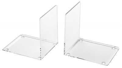 SMALL Clear Acrylic Plasic Bookends Office Home Stationery  School Shelf, 2 PACK