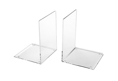 Clear ACRYLIC Heavy Duty Bookends Stationery Home Office School Shelf, 2 PACK