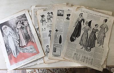 Lot of 20+ Vintage Women's Fashion Magazine Pages 1910 - 1919
