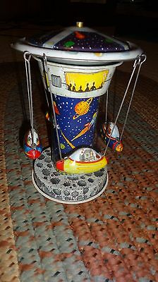 Schylling Rocket Carousel Discontinued Lever Action Tin Toy