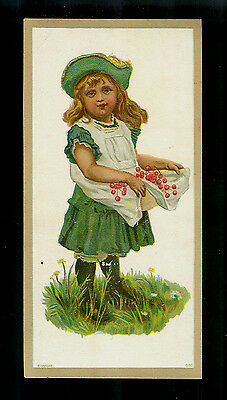 Rosy-Cheeked Girl In Bright Green Dress Gathers Berries-Victorian Trade Card