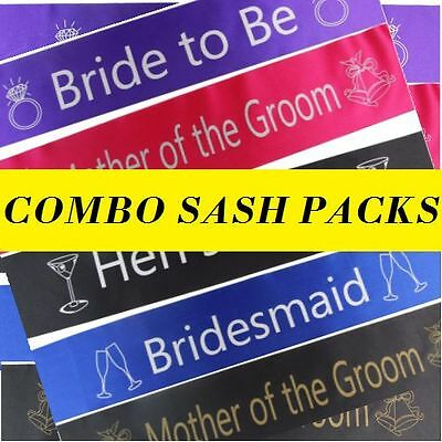 BULK HENS PARTY SASH PACK Bride To Be Bridesmaid Maid of Honour Bridal SASHES