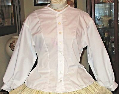 Civil War Dress Victorian Blouse~Snow White 100% Cotton---Custom Made For You