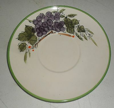 Beautiful Vintage Hand Painted Saucer Purple Grapes Japan Look Of Italy