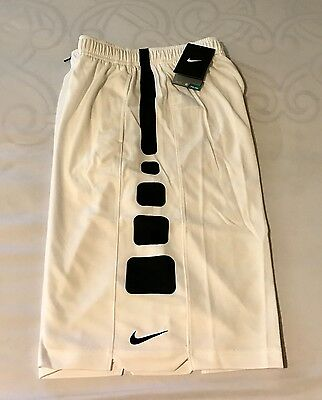 NWT Boys NIKE Elite Stripe Basketball Shorts White Size Small