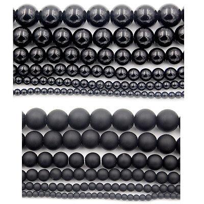 Black Agate Round Loose Beads 15.5''  Smooth & Frosted 4mm 6mm 8mm 10mm 12mm