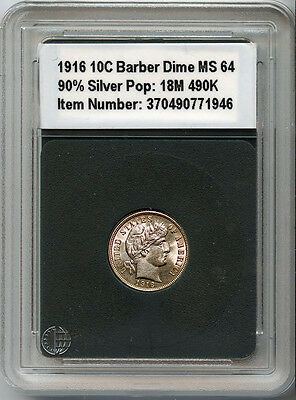 1916 10C Silver Barber Dime Uncirculated In New World Plastic Case + Bonus