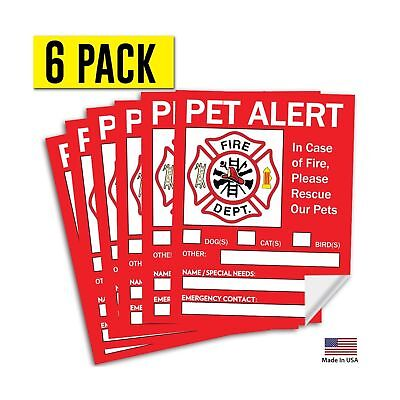 "Pet Alert Safety Fire Rescue Sticker - 5""x 4"" (6 Pack) - Save Our Pets Emergency"