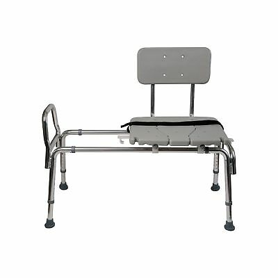 Duro-Med Heavy-Duty Sliding Transfer Bench Shower Chair with Cut-out Seat and Ad