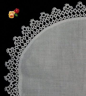 Vintage Oval Hand Tatted Lace Tatting Doily Picot Scallop White Cotton Oblong