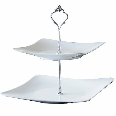 New 2 Tier Vintage Glass Wedding Tea Party Cake Cupcake Plate Display Stand