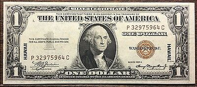1935 A Series  $1.00 Hawaii Ww2 Silver Certificate Issued Note  Unc