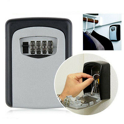 4 Digit Combination Key Safe Security Storage Box Lock Case Wall Mount Organizer