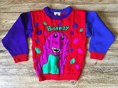 BARNEY the Purple DINOSAUR vintage toddler child pull over SWEATER 1992