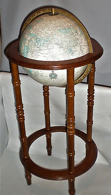 Large Vintage Cram's Imperial World Globe with Wood FLOOR Stand GERMANY DIVIDED