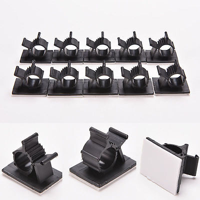10x Cable Clips Adhesive Cord Management Wire Holder Black Organizer Clamp