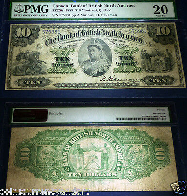 $10 1889 Bank of British North America Bank Note -PMG 20