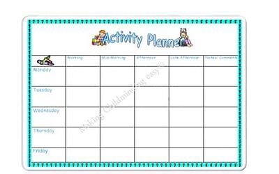 A4 Wipeable weekly activity planner EYFS,Childminder,Childminding,nursery