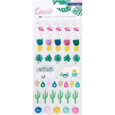 Crate Paper - Oasis Puffy Stickers 36 stickers. Pineapple Flamingo Summer