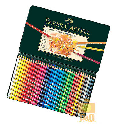 New Faber Castell Colour Pencils Artists Quality Polychromos Tin 36 Set