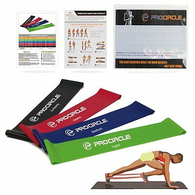 Yoga Resistance Band Pilates Straps Set Of 4 Loops Home Gym Fitness Exercise