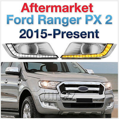 LED Daytime Running Light DRL Drive Lamps For Ford Ranger T6 MK 2 2016 2017 2018