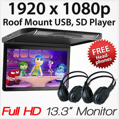 "13.3"" Full HD Car USB SD Player Roof Mounted Flip Down Monitor Screen Display ET"