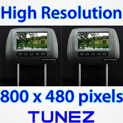 "2 x 7"" Dual HD Headrest Pillow Rear Monitor Screen Display For Car DVD Player ET"
