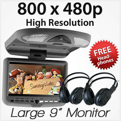 """9"""" In Car Roof Mount Flip Down Overhead Monitor Screen DVD Player ETnz Games"""