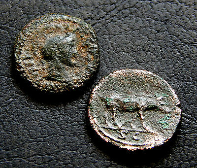 765-INDALO- Roman Imperial - Lot of 2 Roman Quadrans, Domitian and Trajan !!!!!!
