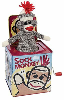 Sock Monkey Jack in the Box Musical Clown Art Tin children Kids toy Play Pop New