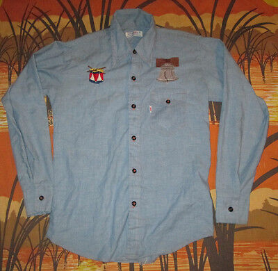 vtg 1976 EMBROIDERED CHAMBRAY SHIRT liberty bell 76 70s USA must see