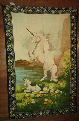 vtg 70s UNICORN & BABY WALL RUG fantasy POSTER horse MUST SEE