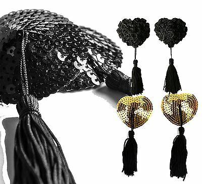 Womens Stick On Quality Nipple Tassel Sequin Pasties Gold Black Flower Rose