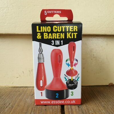 Essdee 3 in 1 Baren + Burnisher + Lino Cutting Carving Linocut Printmaking Tools