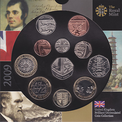 2009 Brilliant Uncirculated Coin Set 11 Coins Rare KEW Gardens 50p BU Royal Mint